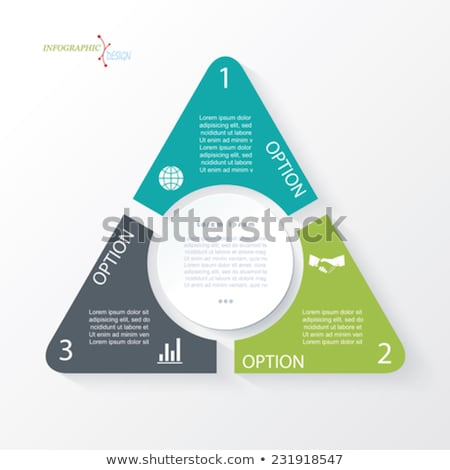 Business concept design with triangle and 3 circle segments. Infographic template can be used for pr Stock photo © kyryloff