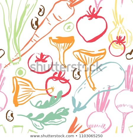 Cook with colourful drawn vegetables Stock photo © ra2studio