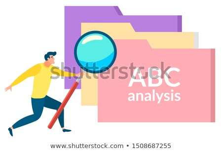 Character with Magnifying Glass Files ABC Analysis Stock photo © robuart