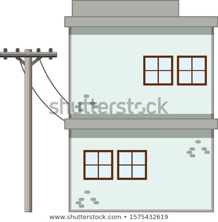 Apartment building with electronic pole Stock photo © bluering