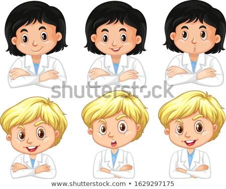 Garçon fille laboratoire robe différent expressions faciales Photo stock © bluering