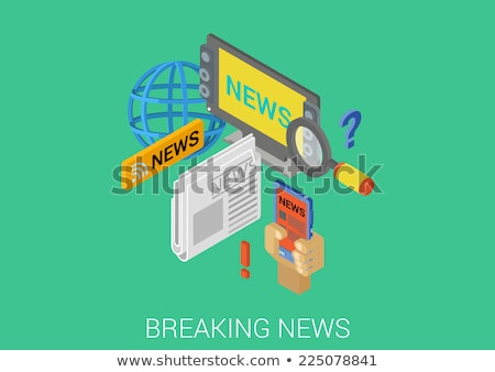 Mass media - modern isometric vector web banner Stock photo © Decorwithme