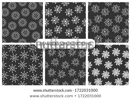Set of vector dark seamless virus patterns. Monochrome endless d Stock photo © ExpressVectors