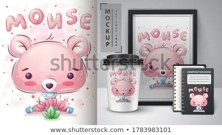 Cute muis poster vector eps 10 Stockfoto © rwgusev
