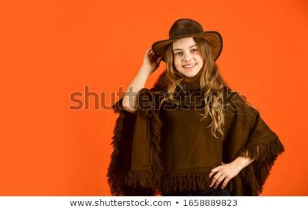 Model jas hoed mooie jonge spaans Stockfoto © lubavnel
