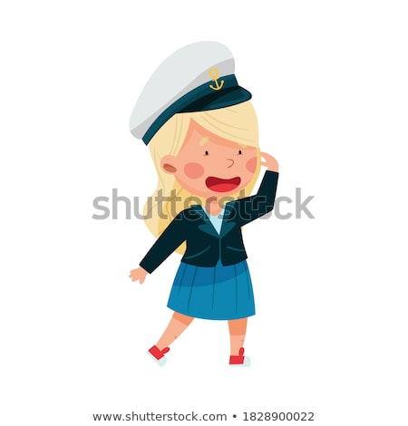 Girl in a sea uniform salutes Stock photo © pzaxe