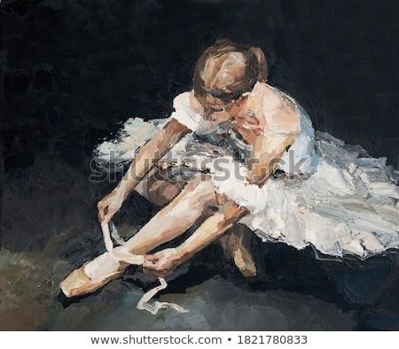 Stock photo: ballerina in black sitting