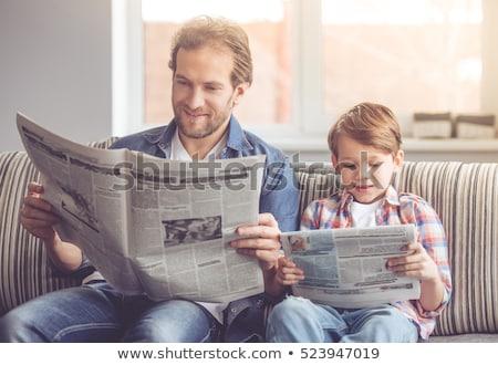 男 幸せ 読む 新聞 肖像 笑みを浮かべて ストックフォト © photography33