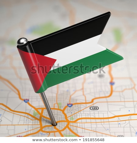 Palestine Small Flag on a Map Background. Stock photo © tashatuvango