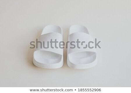 Gumi házi cipők fehér divat cipők cipő Stock fotó © dezign56