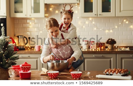 nő · főzés · új · konyha · készít · egészséges · étel - stock fotó © hasloo