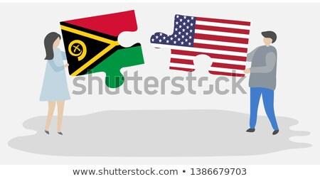 EUA Vanuatu bandeiras quebra-cabeça vetor imagem Foto stock © Istanbul2009