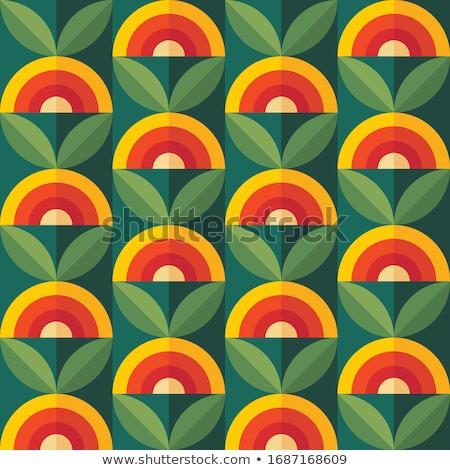 ретро-модель цветы фон листьев шаблон линия Сток-фото © Sarkao