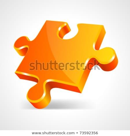 puzzle orange icon Stock photo © nickylarson974