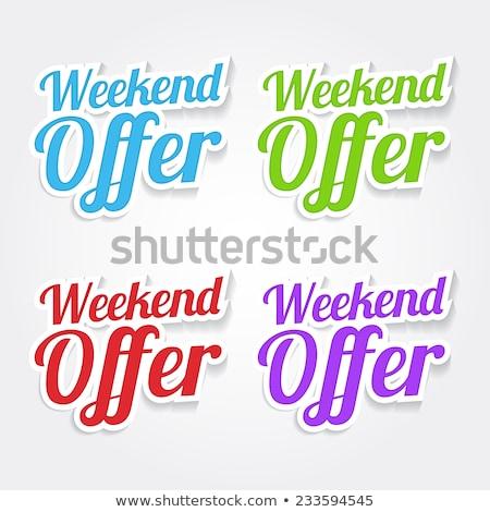Fin de semana ofrecer azul vector icono diseno Foto stock © rizwanali3d