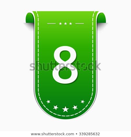 Stock photo: 8 Number Vector Green Web Icon