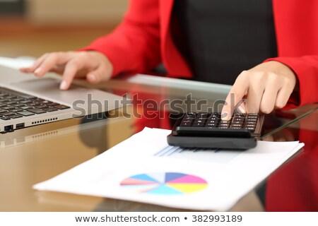 işkadını · hesap · makinesi · genç · çalışma · ev · konuşma - stok fotoğraf © nito