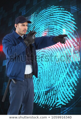 security guard gesturing while using walkie talkie stock photo © andreypopov