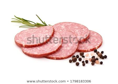 salame · fatias · fino · folha · creme · queijo - foto stock © oleksandro