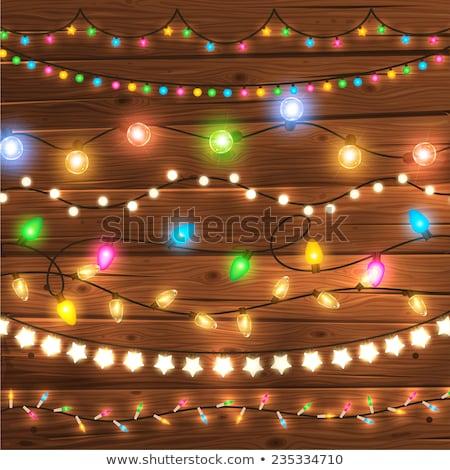 christmas lights bulbs garland vector frame stock photo © vectorikart