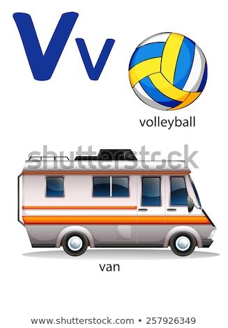 Flashcard letter V is for van Stock photo © bluering