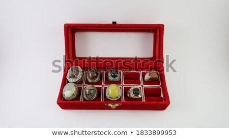 ezüst · fülbevalók · ajándék · piros · szív · doboz - stock fotó © srnr