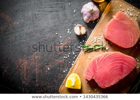 Fresco atum peixe comida fundo conselho Foto stock © M-studio