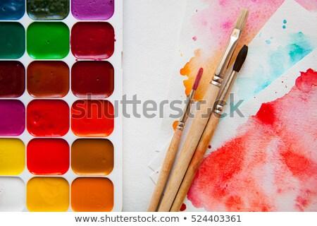 акварель · краской · палитра · фото · оранжевый · образование - Сток-фото © wavebreak_media