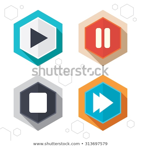 Player. Hexagonal icons set on abstract orange background Stock photo © ekzarkho