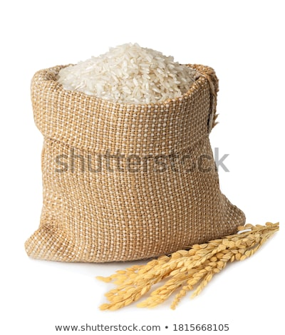 bag and pile of white long grained rice stock photo © digifoodstock