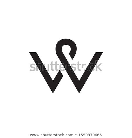 Logo w betű kék felirat vektor ikon Stock fotó © blaskorizov