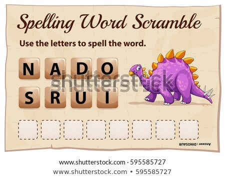 spelling word scramble game with word dinosaur stock photo © colematt