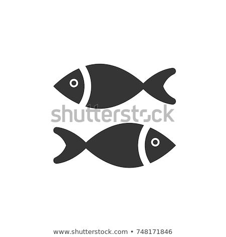 Vetor preto peixe ícone símbolo elemento Foto stock © blaskorizov
