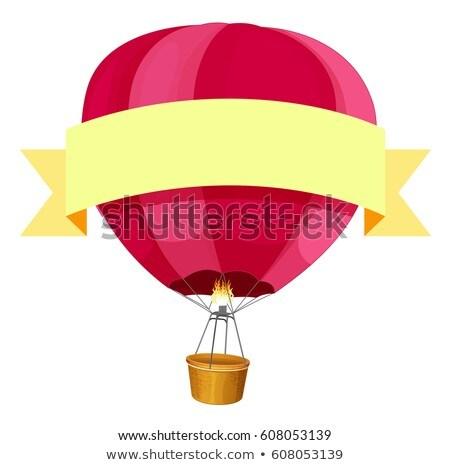 Red hotair balloon and yellow ribbon Stock photo © colematt