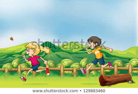 Girl running on wooden log bridge stock photo © colematt