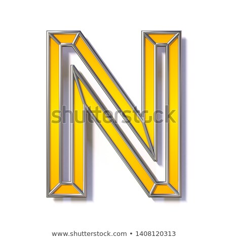 Orange metal wire font Letter N 3D Stock photo © djmilic
