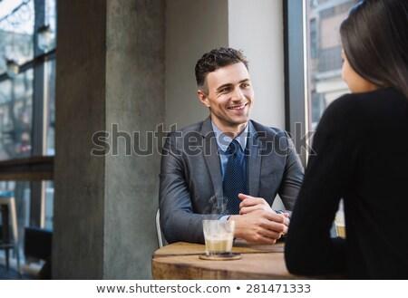 Zakenlieden bespreken laptop tabel restaurant computer Stockfoto © wavebreak_media