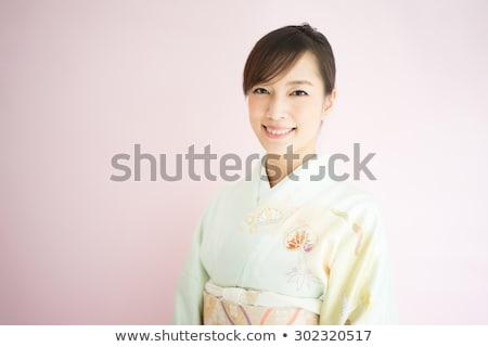 красивой Японский кимоно женщину розовый моде Сток-фото © Lopolo