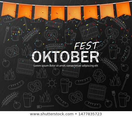 October fest welcome poster Vector realistic. Dark background. B Stock photo © frimufilms