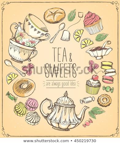 Chá da tarde copo chá servido pequeno Foto stock © grafvision