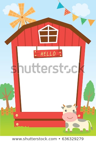 Border template design with children and farm animals Stock photo © bluering