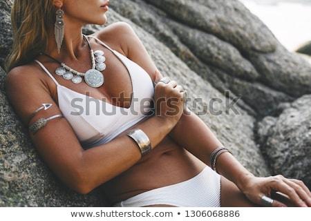 Nő visel fehér bikini tengerpart csinos nő Stock fotó © imarin