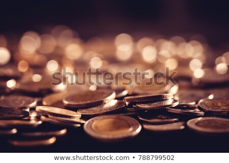 Macro of golden coins. Shallow depth of field. Stock photo © moses