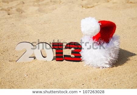 Fából készült 2013 év szám homok tengerpart Stock fotó © AndreyKr