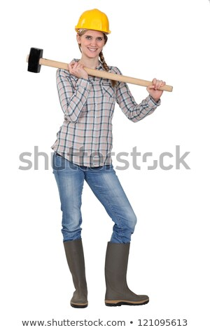 craftswoman striking with a hammer Stock photo © photography33