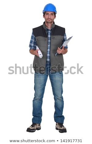 tradesman holding rolled up blueprints and a clipboard stock photo © photography33