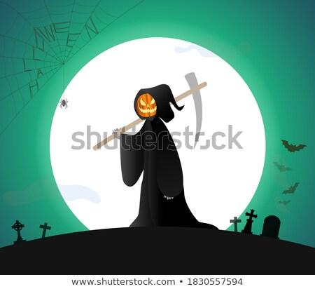 halloween churchyard, bats and skulls on the moon Stock photo © marinini