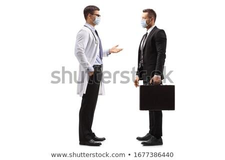 Kettő üzletember áll szemtől szembe izolált fehér Stock fotó © alexandrenunes