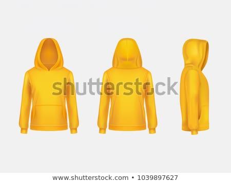Férfi visel citromsárga kapucnis kabát felnőtt Stock fotó © stevanovicigor