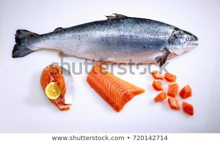 Friss lazac étel narancs piros tányér Stock fotó © art9858